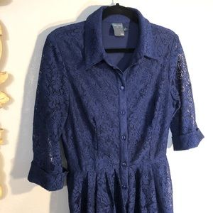 Gabby Skye - Navy Blue, Full Lace Button Up, 3/4